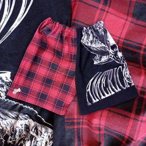 Custom Handmade American Flava Skull Plaid Shorts